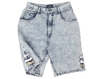 Vintage 80s High Waisted Denim Shorts 29, Acid Wash Shorts, Jean Shorts, 80s Shorts, High Waist 80s Shorts, Retro Shorts, SIZE 29 Waist