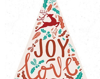 Joy Love Peace - Christmas Tree (Art Prints available in multiple sizes)