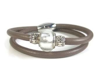 Taupe Leather Bracelet, Womens Leather Jewelry, Womens Leather Bracelet, Leather Wrap Bracelet, Wrap Bracelet, Genuine Leather
