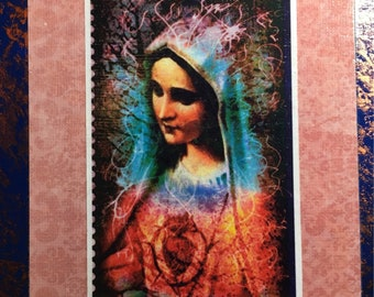 The Blessed Mother Beautiful Colorful Mounted Antique Look Religious Art. Great Gift!