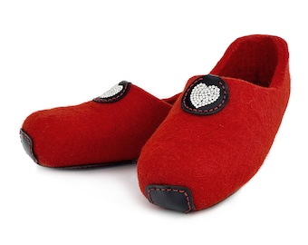 Lowul Dysie Swarovski Personalized Felted Wool Slippers