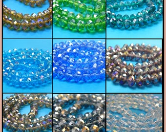 70+ Beads, Electroplate Glass Beads, Clear Iridescent Beads, 8x6mm, Faceted, Rainbow, Abacus, Necklace Beads, Jewelry Making, #B1-10