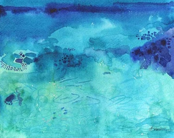 Print of OCEAN ABSTRACT WATERCOLOR, ocean painting, turquoise blue, ocean small painting, abstract ocean art, aqua painting, beach painting