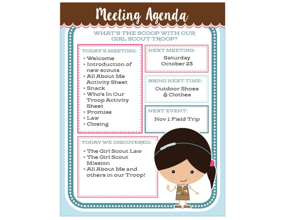 Brownie Girl Scout Meeting Agenda   Editable Printable   Instant Download