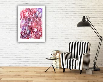 Original Contemporary Abstract Art in Hues of Red, Orange with purple accents