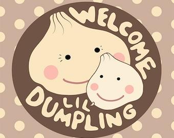 New Baby Card, Little Dumpling, Girl, Boy, or Gender Neutral Baby, Cute, Kawaii Card