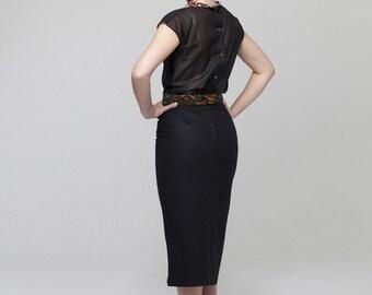 Wiggle Skirt - La Luna Linen Skirt in Noir