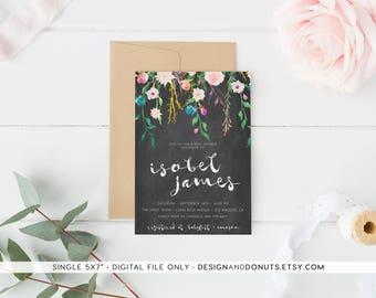 Chalkboard Baby Shower Invitation, Girl, Printable Floral, Printable [95]