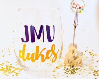 JMU Dukes // Gifts // football // Customizable 15 oz Stemless Wine GLASS