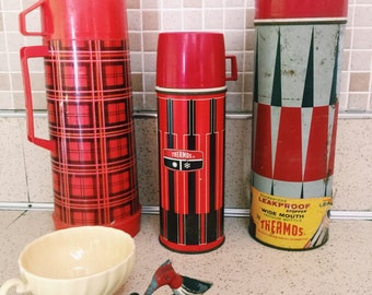 Vintage 1 Qt Thermos Red and black diamond Insulated Thermos, vintage thermos, thermos, picnic, coffee cup, vintage, retro, mid century,