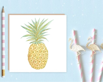 Pineapple Blank Greeting Card - Pineapple card - Pineapple - ideal for pineapple lovers