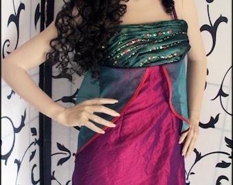 Purple magenta green woman dress, short elegant dress hand embroidery, Taffeta and organza, Haute couture, one of a kind Umaslady designer