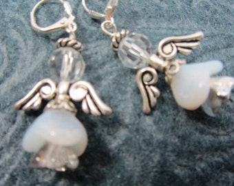 SALE 25% off! Angel Earrings in Silver and White with Swarovski Crystals