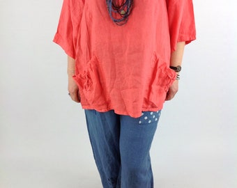Linen Top Tunic Pockets Wide Short Sleeves Plus Size 16 18 20 22 in Coral