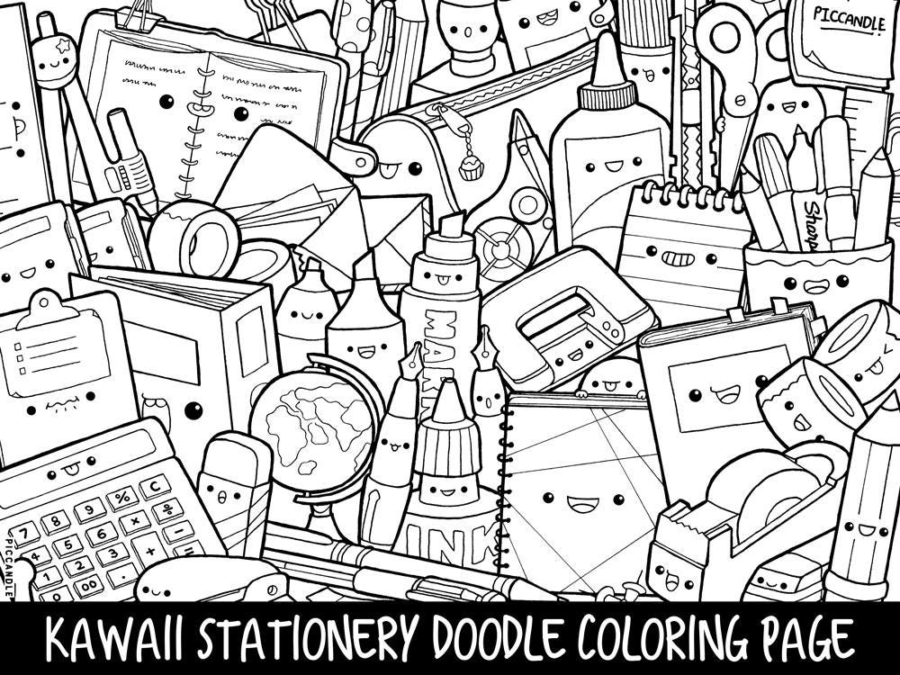 Stationery doodle coloring page printable cute kawaii for Doodle coloring pages