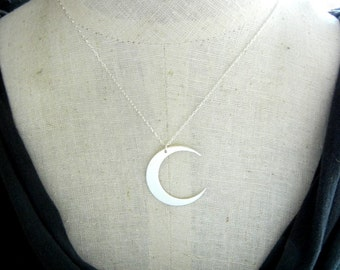 Moon Necklace | Crescent Moon Necklace | Sterling Silver Hammered Charm by E. Ria Designs