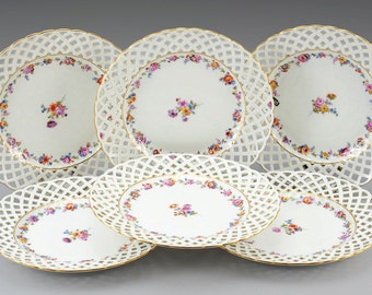 set of 6 meissen porcelain marcolini period plates