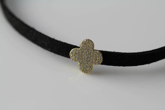Flower Choker Necklace, Velvet Choker, Unique Choker, Sterling Silver Choker, Gift for Women, Unique Gifts, Fashion Necklace