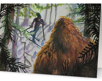 Twas the night before Christmas.... Bigfoot Holiday Greeting Card