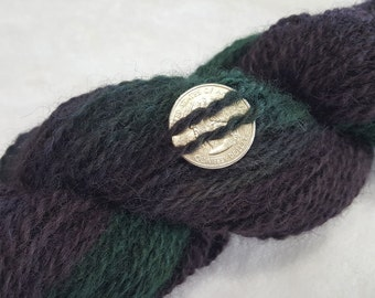 Alpaca yarn - hand spun and hand dyed in Navy Blue and Green
