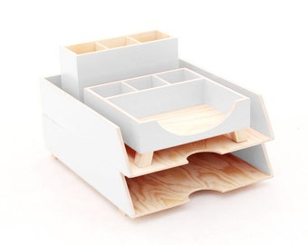 White Desk Accessories, Desk Organizer, Wood Desk Organizer Set, White Office Desk Organizer, Pen holder, Paper sorter tray, Back to chool