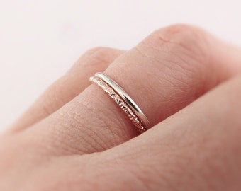 Simple Stacking Set, Mixed Metals Ring Set, Textured Rings, Faceted Ring, Boho Ring Set, Stacking Rings, Boho Chic, Goldfilled and Sterling