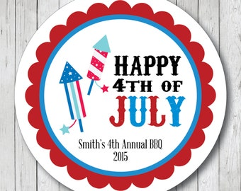 Happy 4th of July Rockets, Personalized July 4th Stickers, Labels or Tags