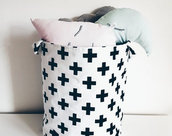 Fabric storage basket.Laundry basket,toy storage, black swiss cross on white background.Monochrome.Nursery decor, kids room.Baby shower gift