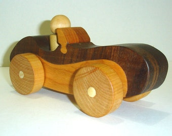 Wooden Toy Sports Car with Driver Ready to ship