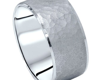 10MM Hammered 14 KT White Gold Mens Wedding Ring Band Comfort Fit Beveled Edge