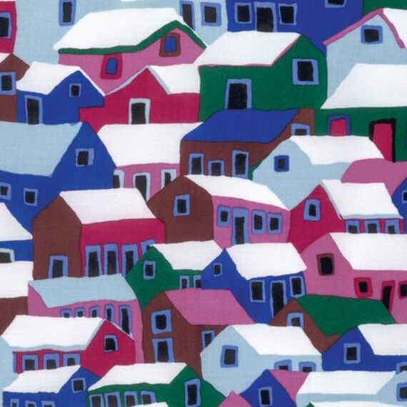 SHANTY TOWN Winter by Brandon Mably for Kaffe Fassett Collective Sold in 1/2  yard increments