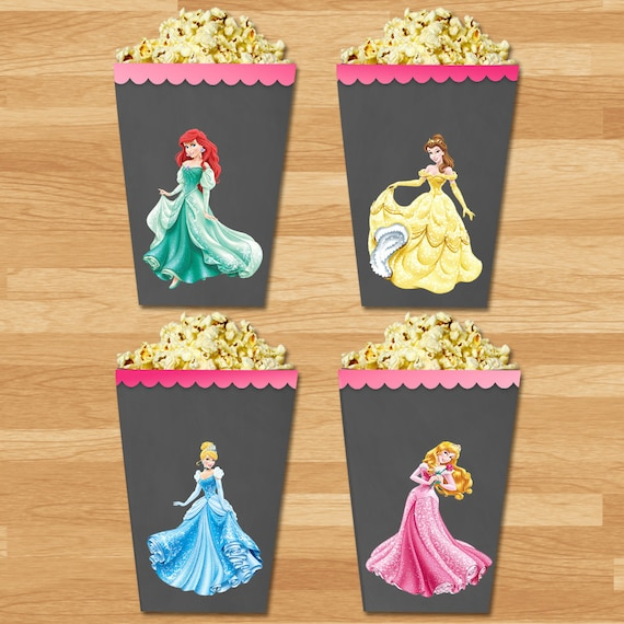 Disney Princess Mini Popcorn Boxes - Chalkboard - Disney Princess Popcorn Boxes - Princess Party Favors - Princess Birthday Party Printable