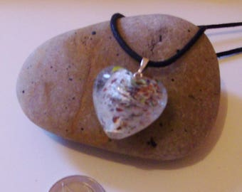 Blown glass heart pendant