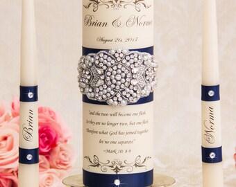 Navy Blue Wedding Unity Candle Set Wedding Unity Candles Wedding Candle Personalized Unity Candle Set