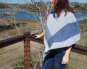 Blue gray poncho using recycled sweaters