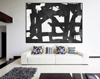 large painting on canvas, original abstract painting Black and White, original Painting on canvas, large Abstract Painting,