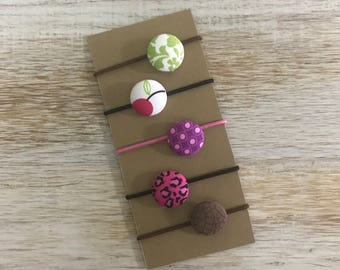 Button Hair Ties - Set of 5 - Girls hair ties - Hair accessories - Fabric covered hair ties - Handmade - Pony tail holder