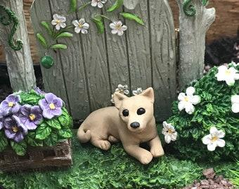 Tan Chihauahua dog, polymer clay sculpture