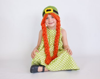 Girl St. Patricks Day Hat with Braids - March Baby Girl - St. Patricks Day Hat for Girls - Leprechaun - Crochet Hat with Braids - Green Hat