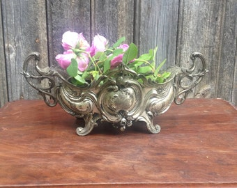 French Antique Silver Planter, Louis XV Style, Centerpiece, Silver Metal, Shabby Chic, French Decoration, late Nineteenth Century