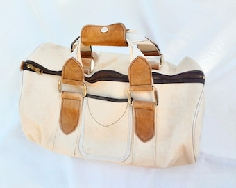 Duffle bag ~ Canvas Leather and Metal Travel Weekender ~ Weekender Gear Bag ~ Vintage ~ Collapsible Duffle ~ Cream White Canvas Metal Zipper
