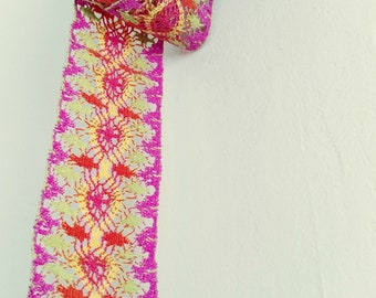"Vintage Wide Trim,  1 Yard, 2"" Wide for Craft and Decor, New Old Stock, NOS Hot Pink, Orange, Green"
