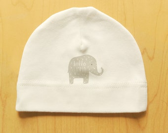 Elephant baby hat, HELLO WORLD, organic cotton, cute print, newborn, 0-3 months, natural