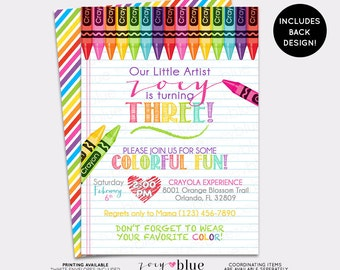 Crayon Invitation Painting Party Birthday Art Party Invite Girl Rainbow birthday Coloring Modern Invitation Striped Colorful - Digital File