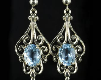 Aquamarine Gold Earrings 9ct Gold Fancy Design