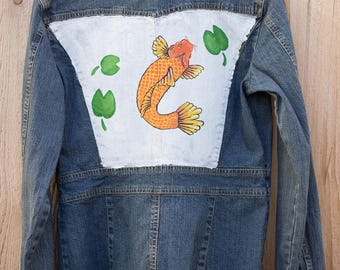 Koi with Lily Pads Jean Jacket (Women's M)