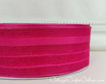 """Wired Ribbon, 1 1/2"""",  Pink Striped Semi-Sheer - THREE YARDS - Offray """"Kempton"""", Spring, Easter, Summer, Wedding Wire Edged Ribbon"""