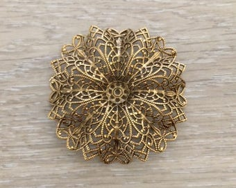 Gold Filigree Flower, Gold Stamping, 65 mm, Brass Stampings