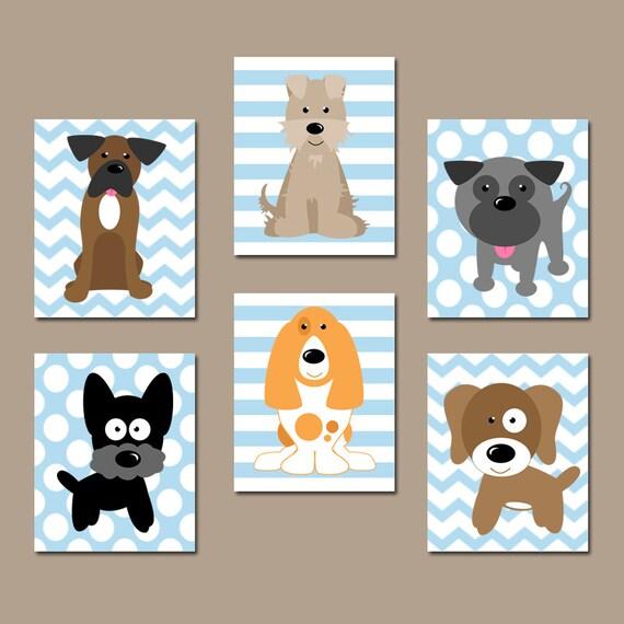 Dog Nursery Wall Art Canvas Or Prints Baby Boy Nursery