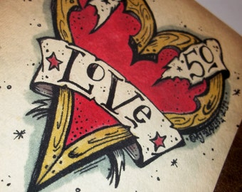 Romantic Love Greeting Card Retro Heart Tattoo  5x7 by Agorables Undead Valentine's Day